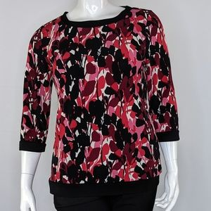 Dana Buchman Red Pink Black Floral Blouse L